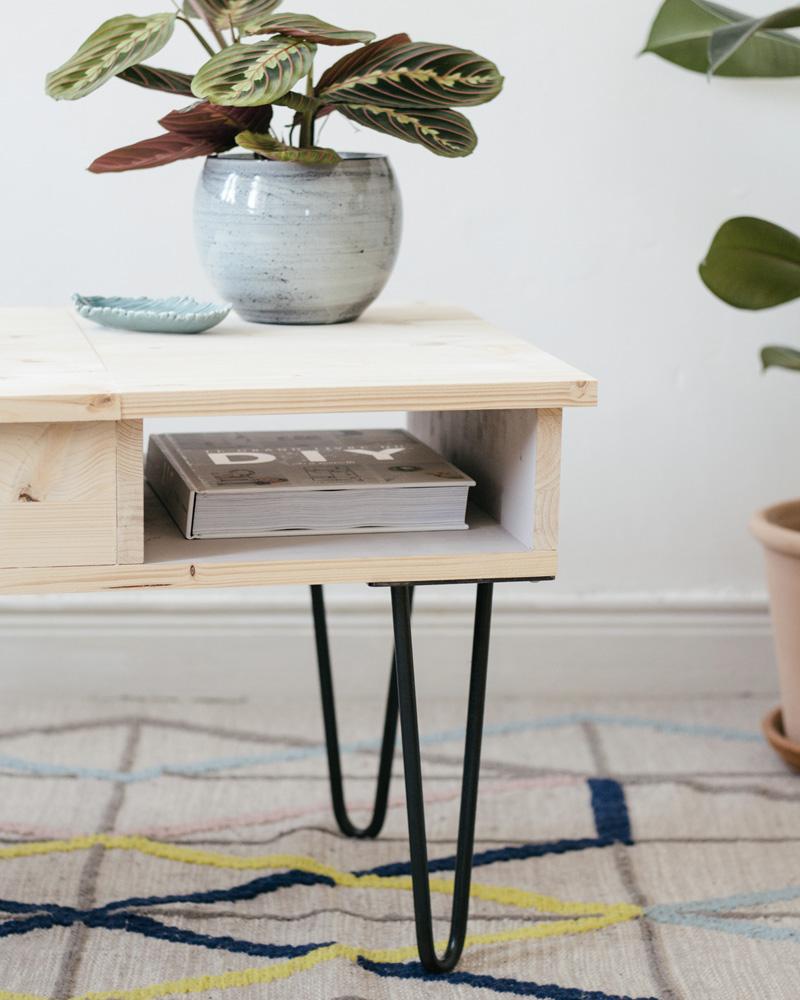 table basse diy bois épingle
