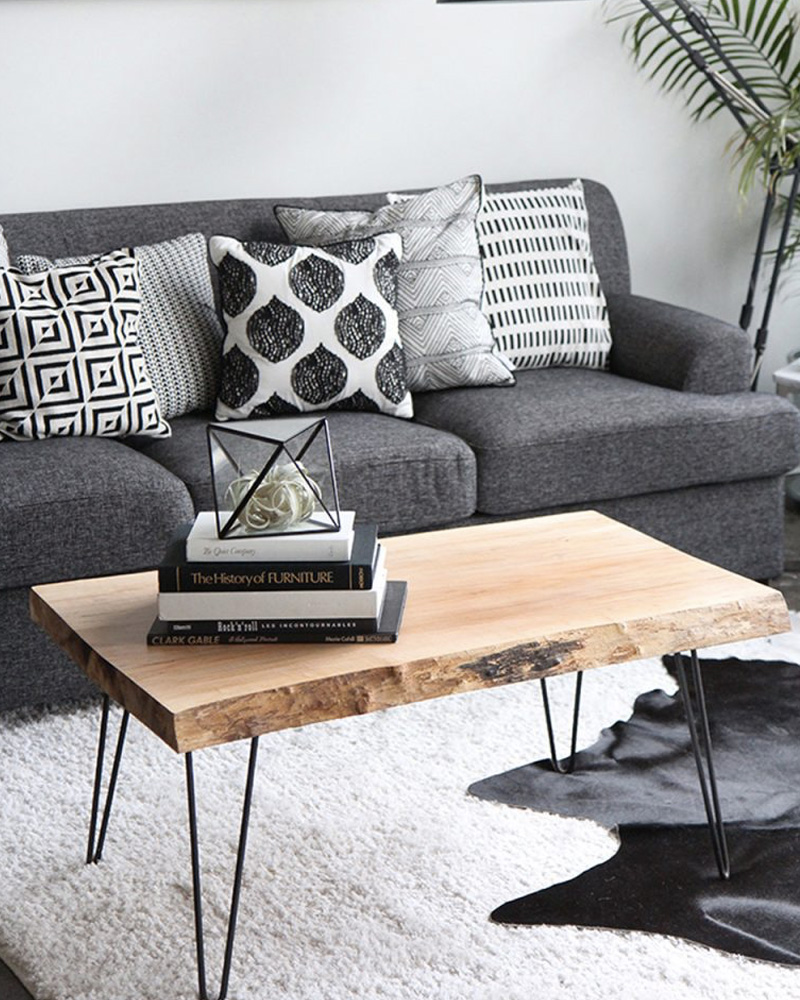 meuble pied metal table basse