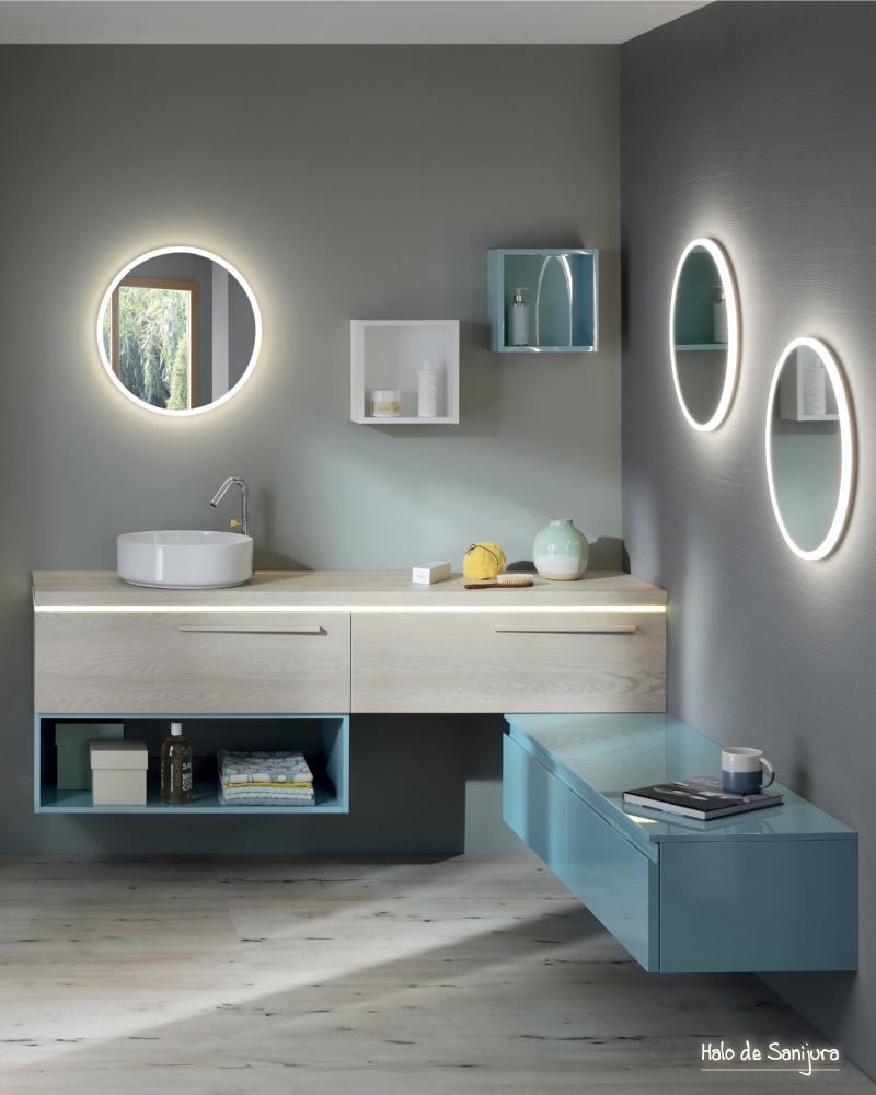 deco salle de bain bleu campagne