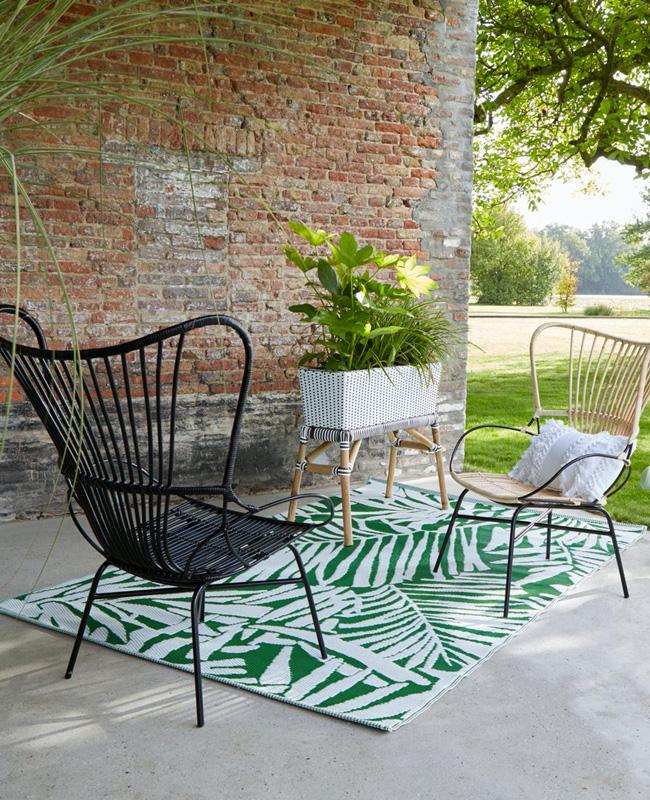 tapis extérieur feuilles palmier