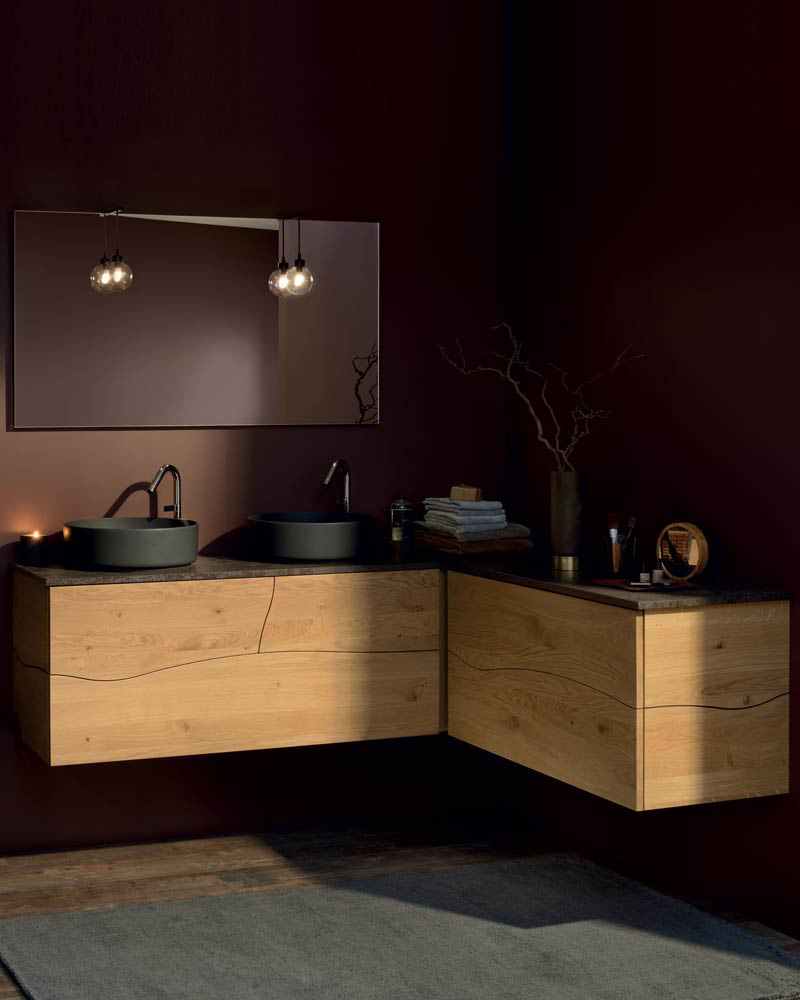 deco salle de bain familiale rangement bois