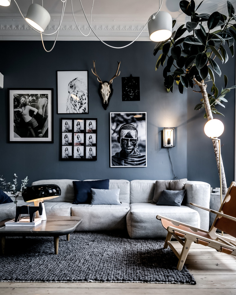 deco salon gris blanc mur