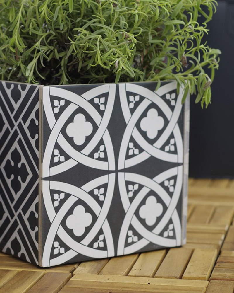 diy carreaux ciment pot plante