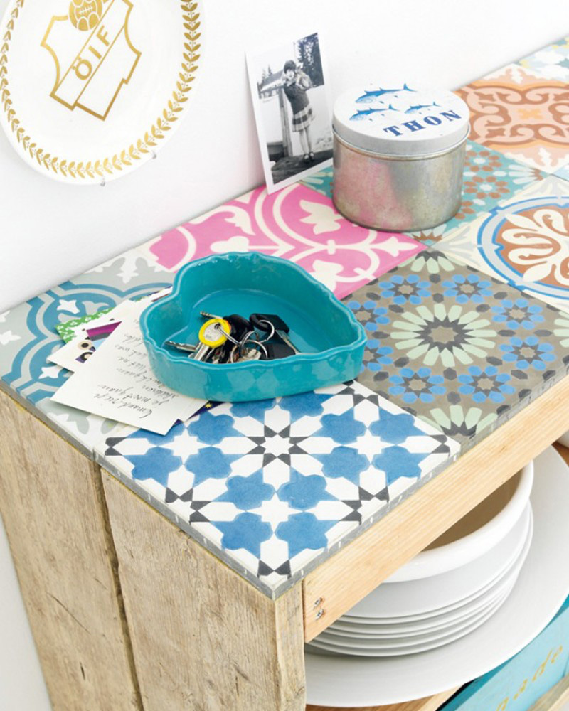 diy carreaux ciment plateau buffet