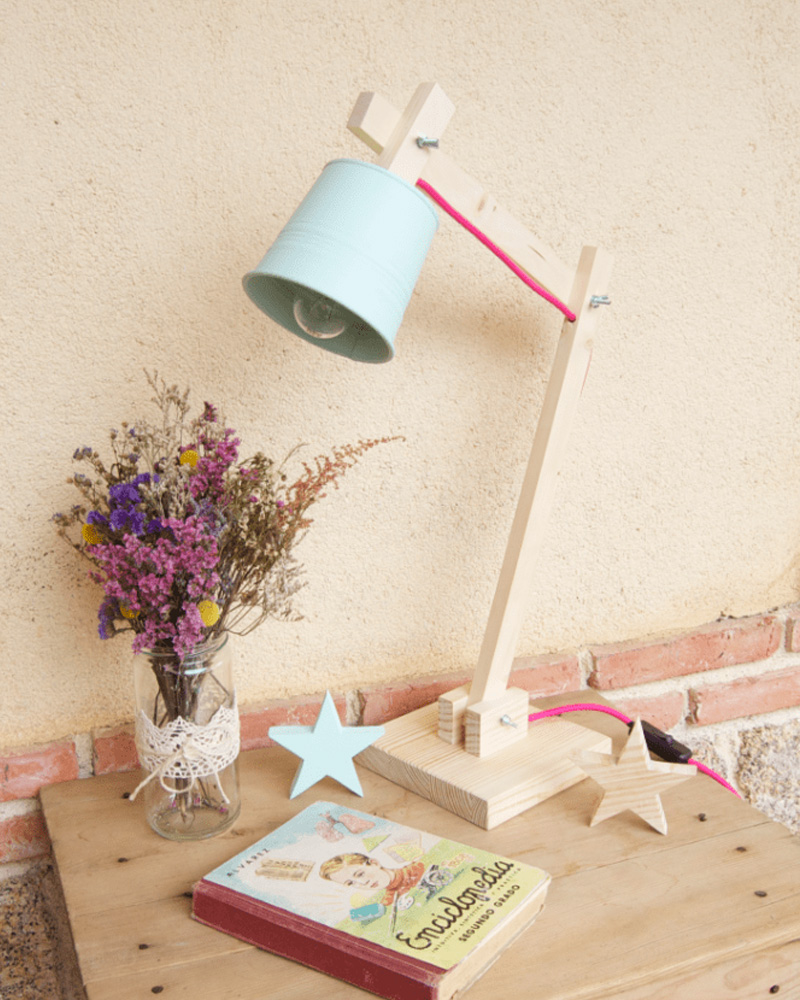 lampe bureau diy bois pot métal