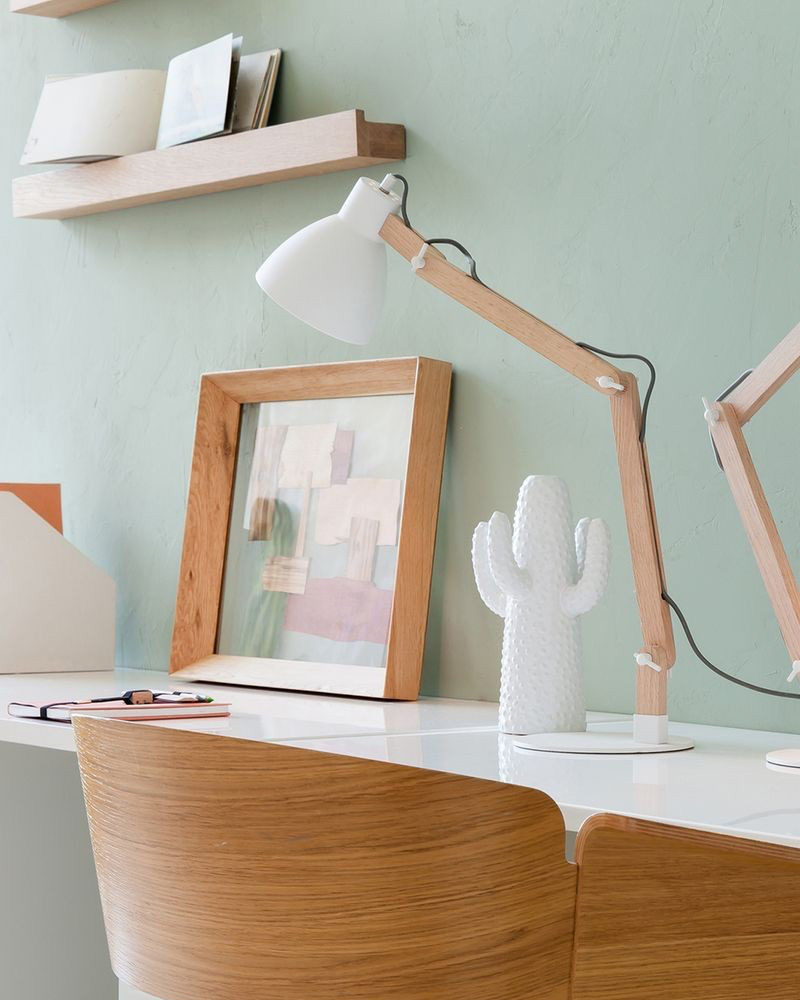 lampe bureau scandinave bois blanc