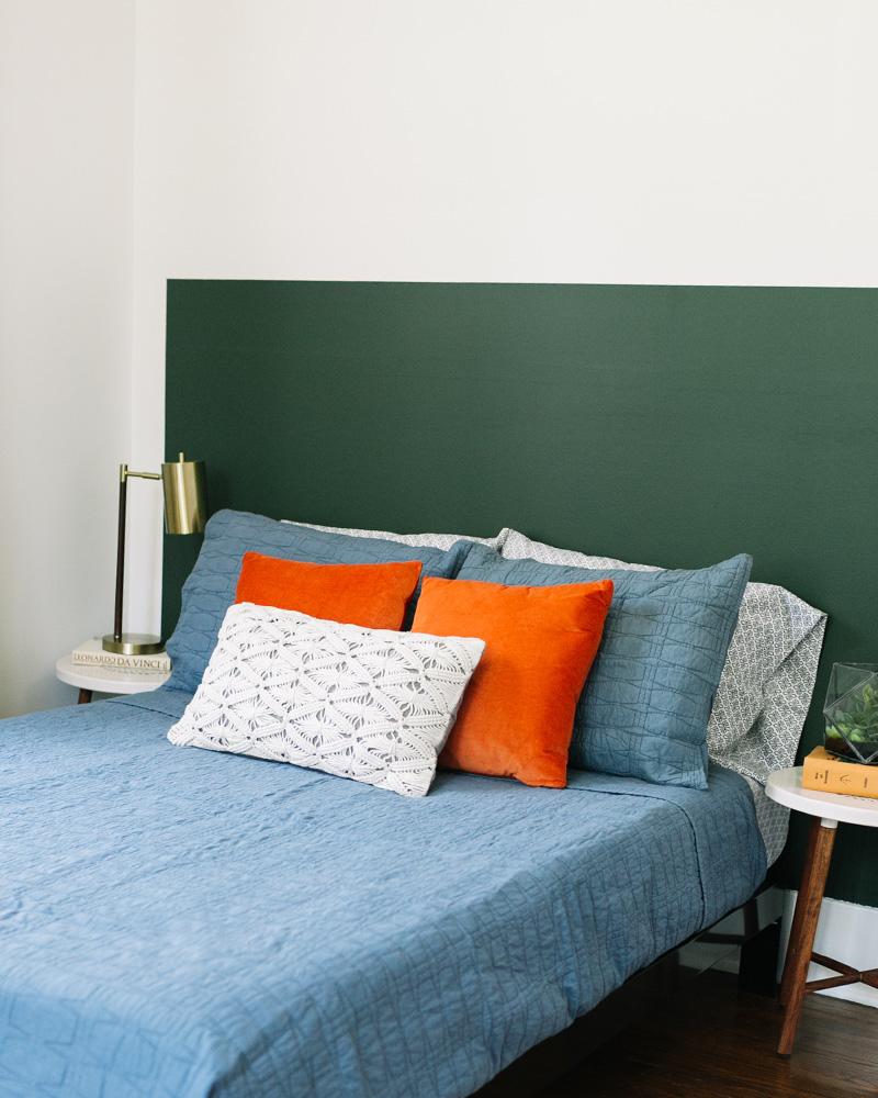 tete de lit diy peinture verte