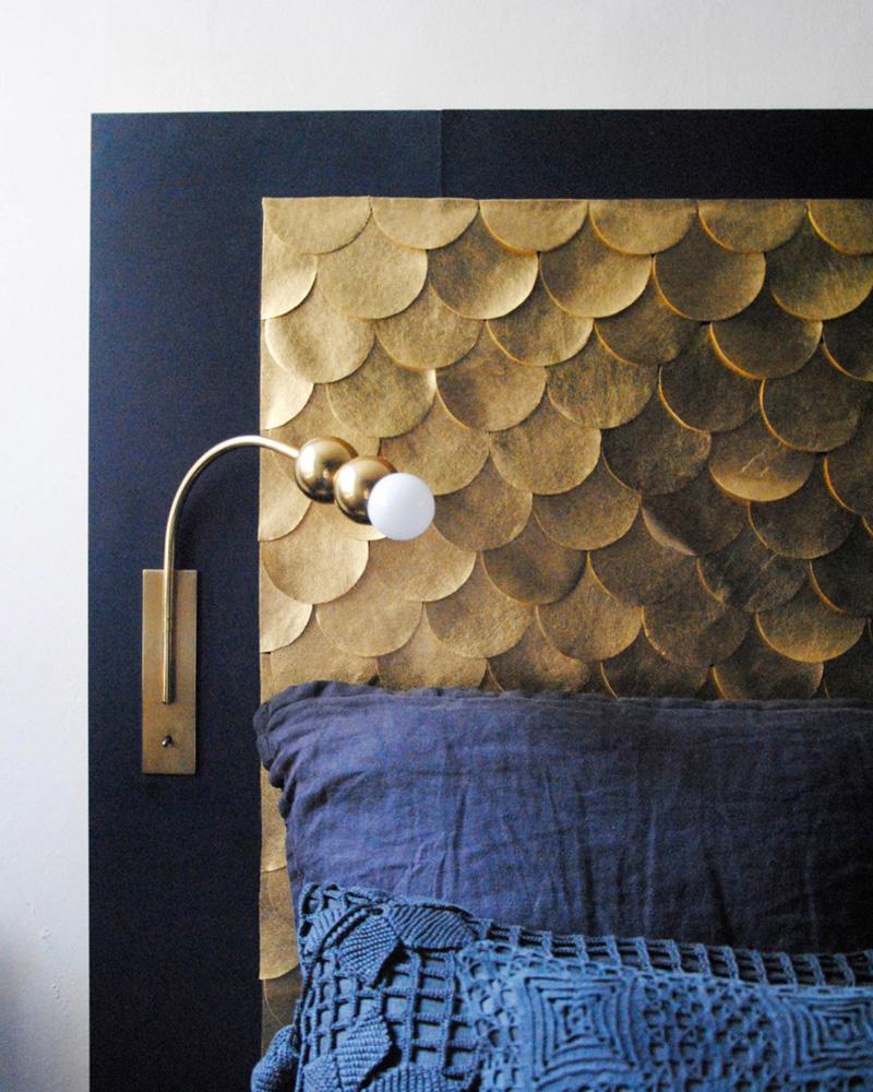 tete de lit diy dorée