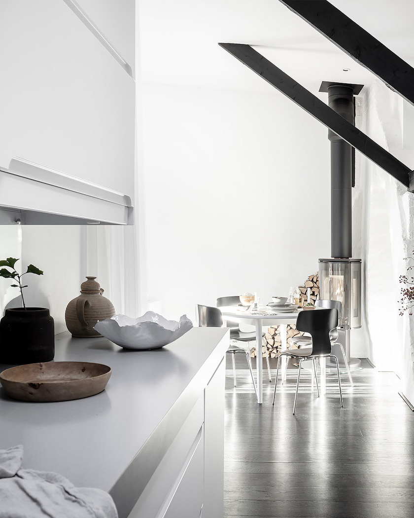 appartement deco contemporaine noir blanc sejour