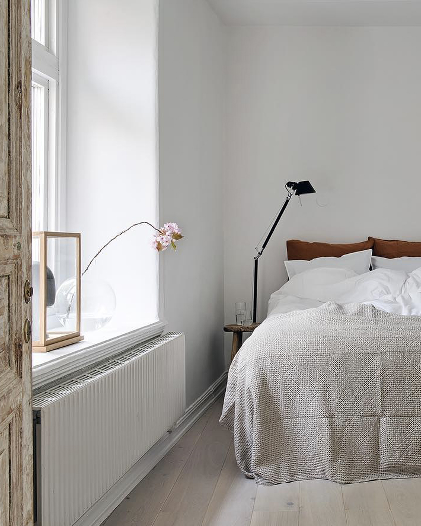 deco chambre blanc bois parquet