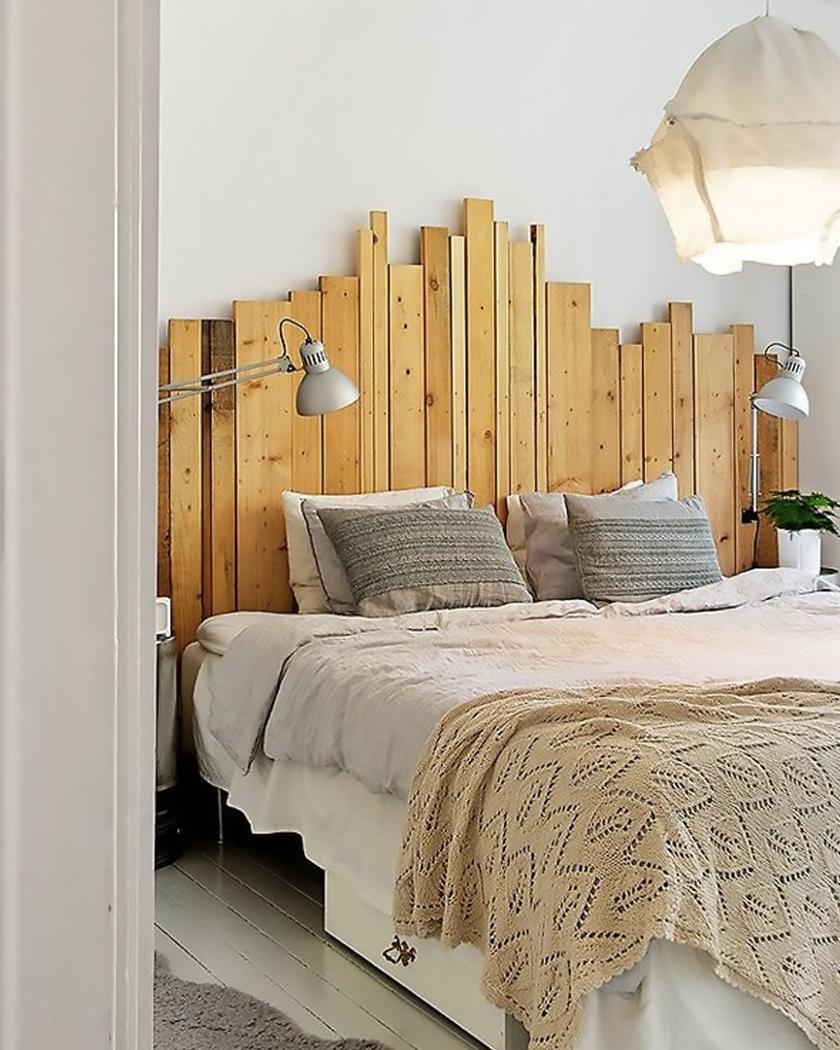 deco chambre blanc bois tete de lit