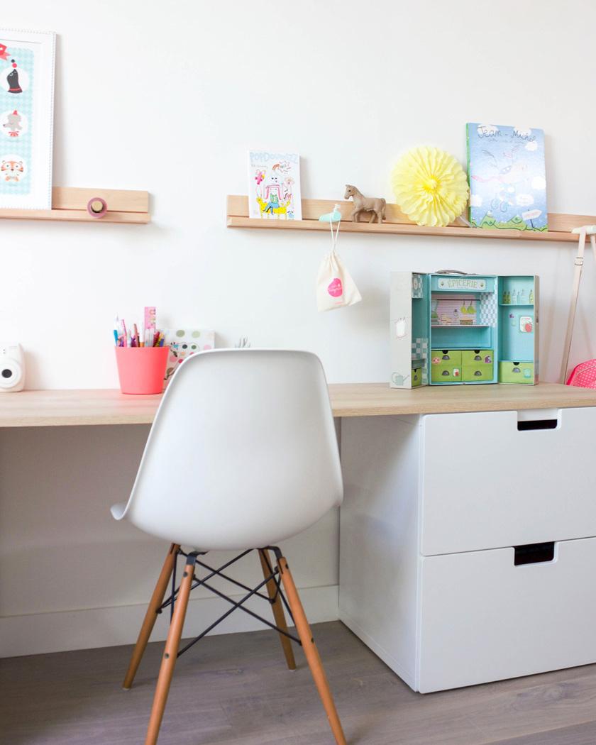 chaise scandinave bureau enfant blanc