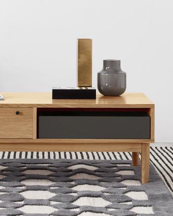 table basse chêne compartiments rangement
