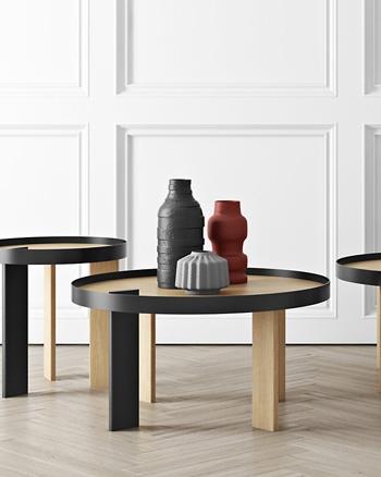 table basse bois ronde placage chêne laquage noir