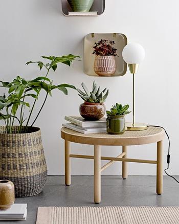 table basse bois de hêtre rotin