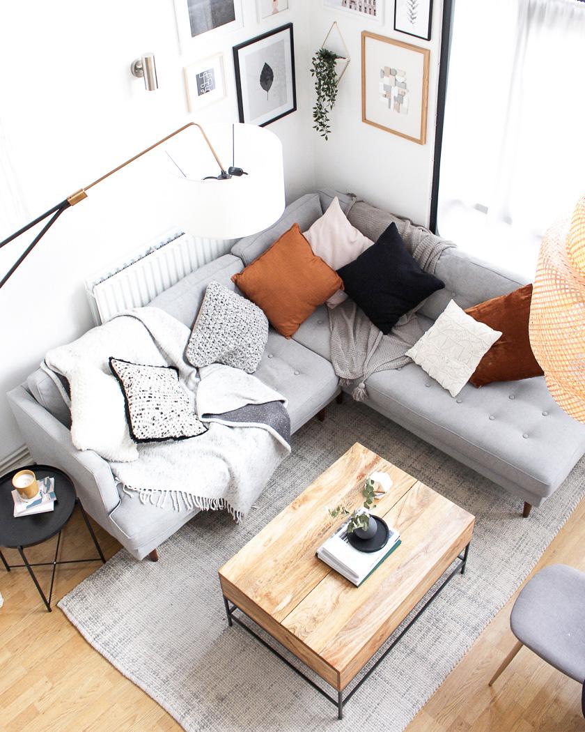 table basse bois salon rectangulaire canapé d'angle