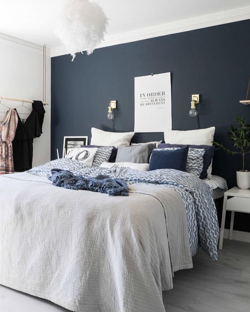 deco chambre parentale moderne bleu nuances