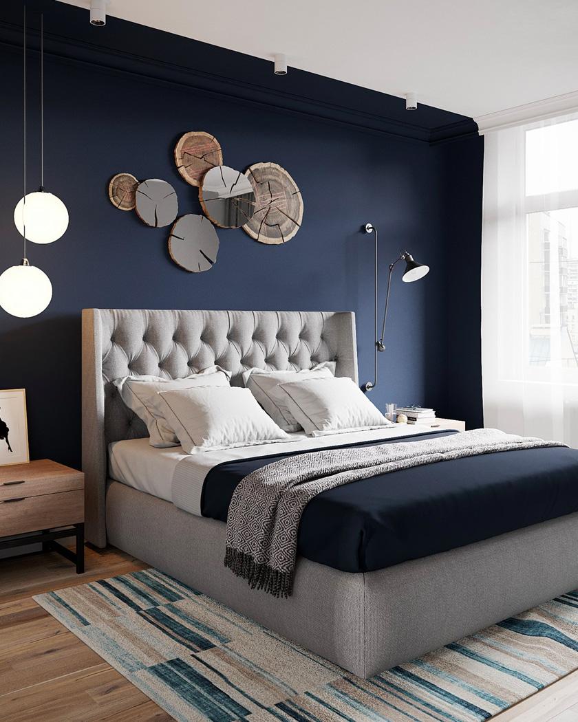 deco chambre parentale moderne bleu mur