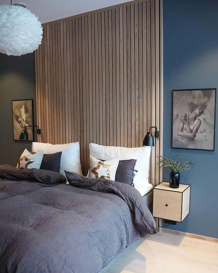 deco chambre parentale moderne bleu tete de lit bois