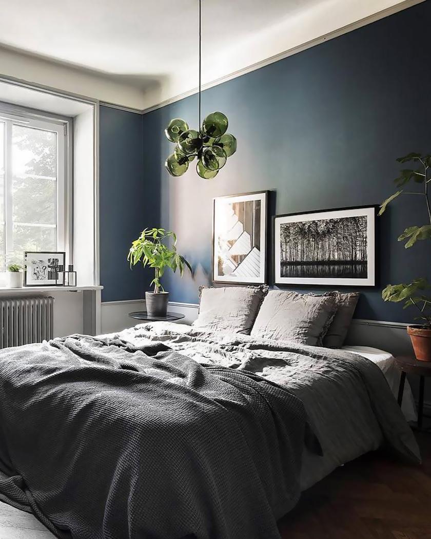 deco chambre parentale moderne bleu vert vegetale