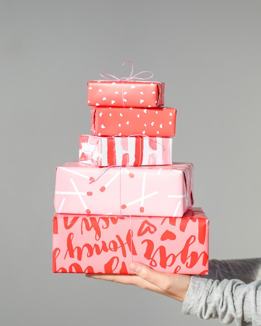 papier cadeau noel à imprimer rose