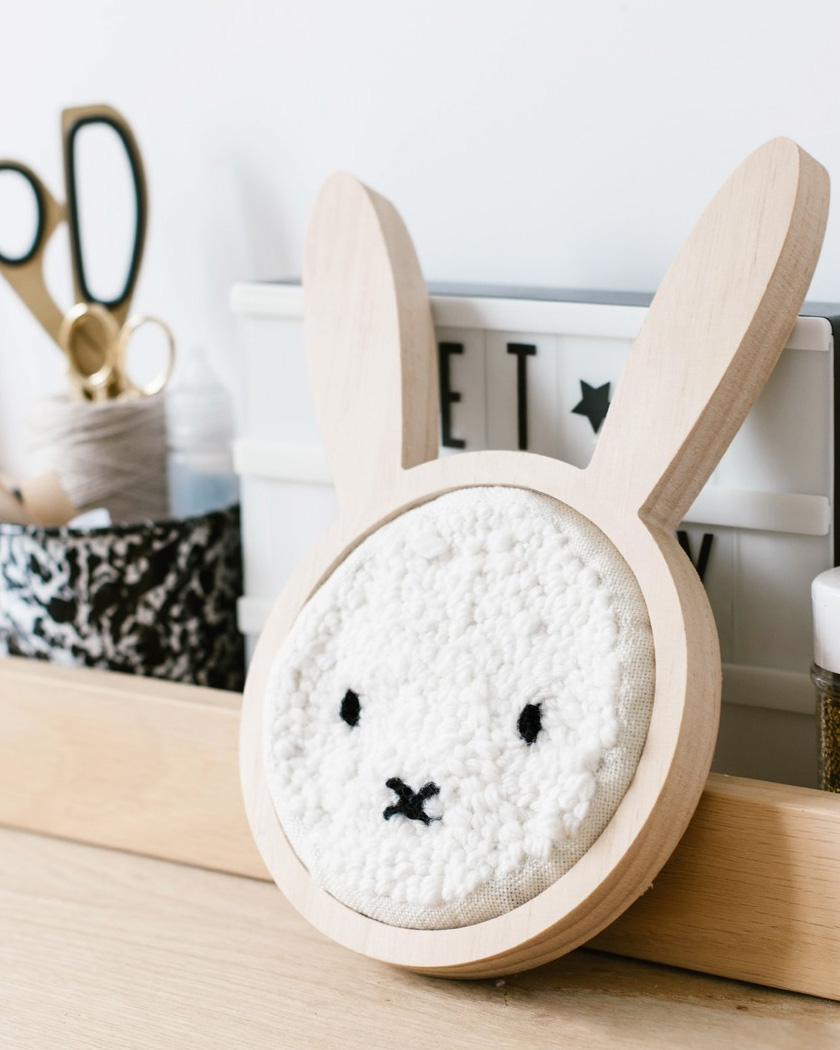 broderie diy punch needle miffy lapin