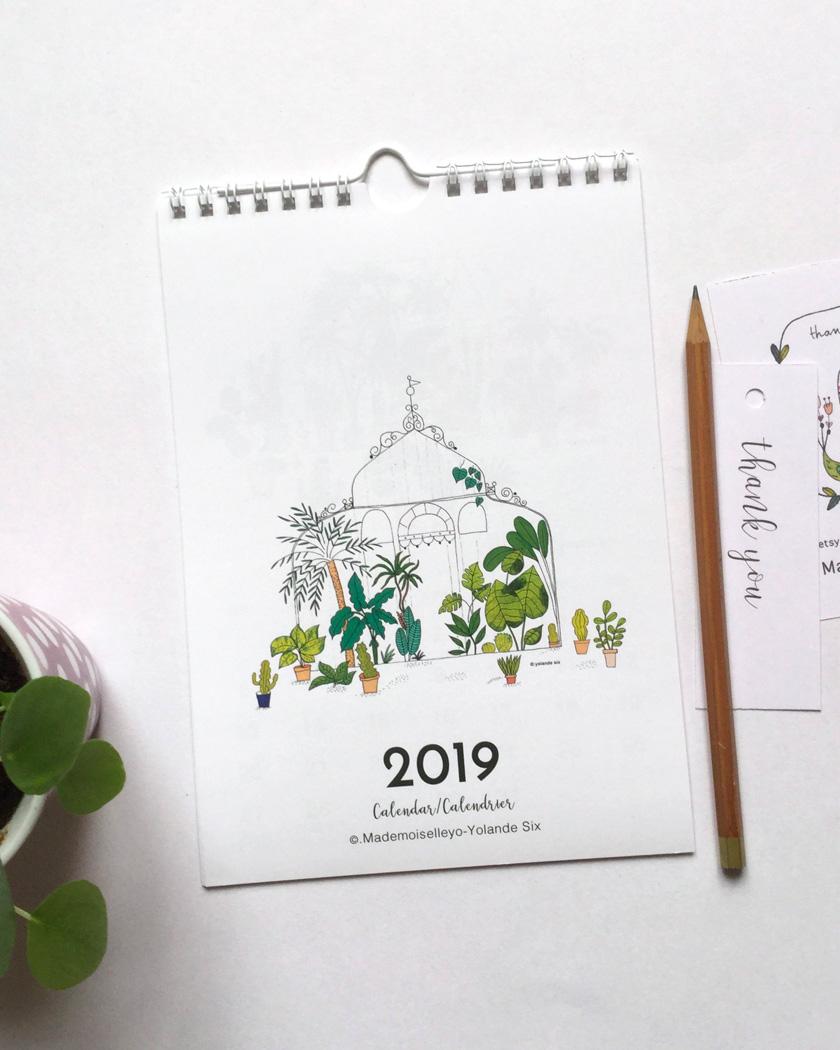 calendrier 2019 mural plantes