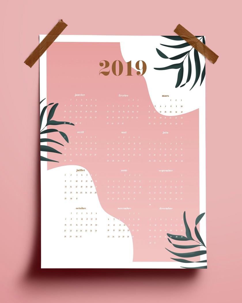 calendrier 2019 mural A3 rose