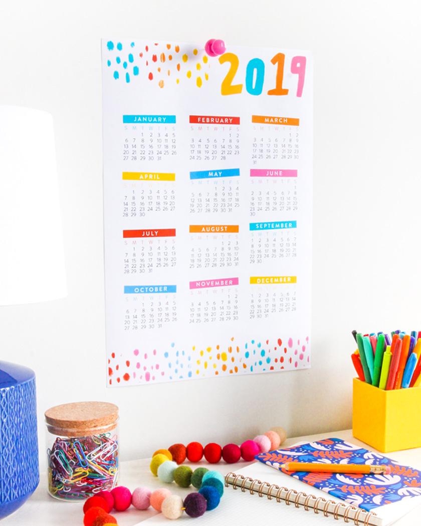 calendrier 2019 gratuit à imprimer coloré A3