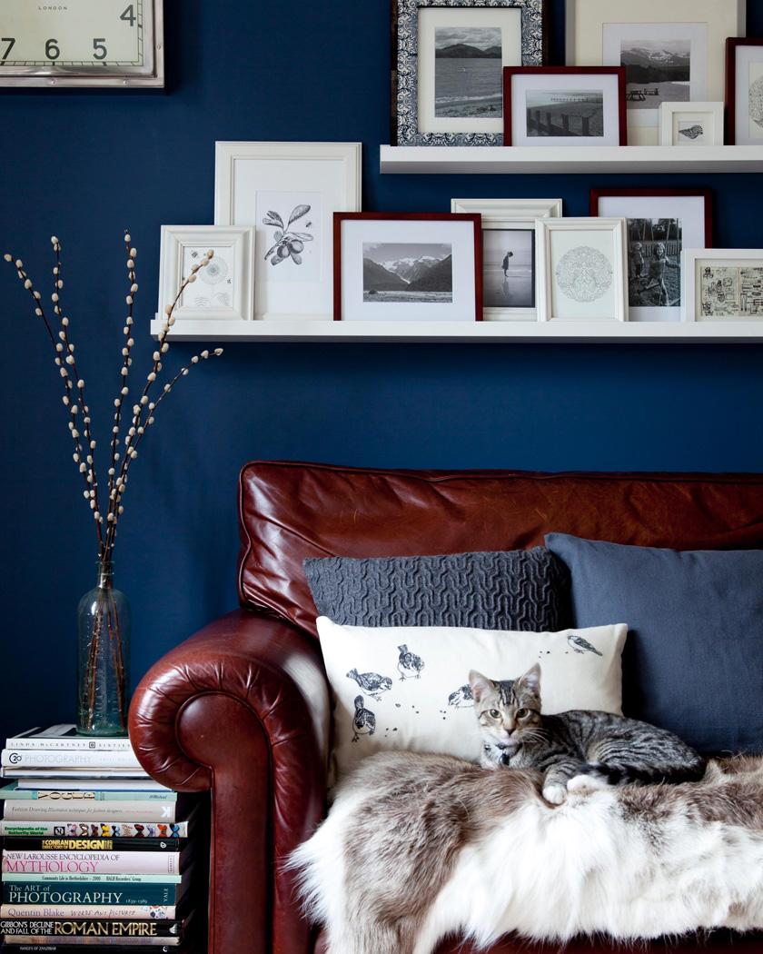 salon canapé cuir murs bleus et beige