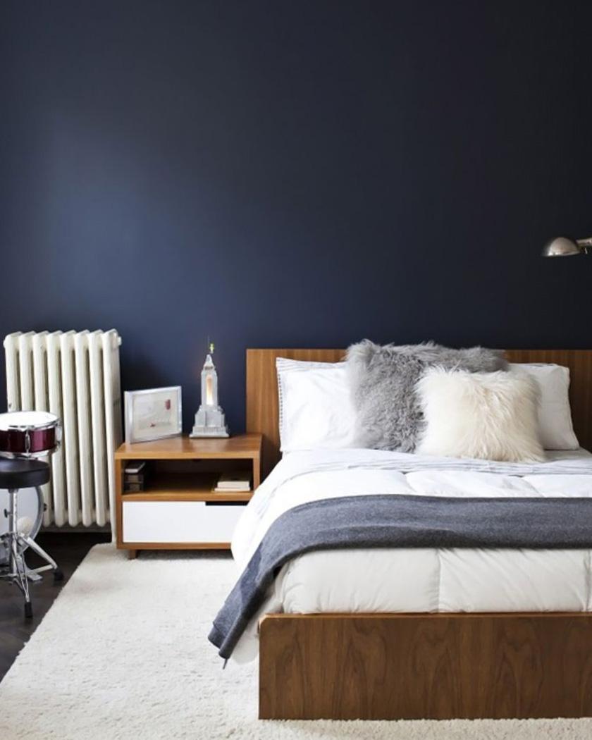 chambre contemporaine bleu foncé beige