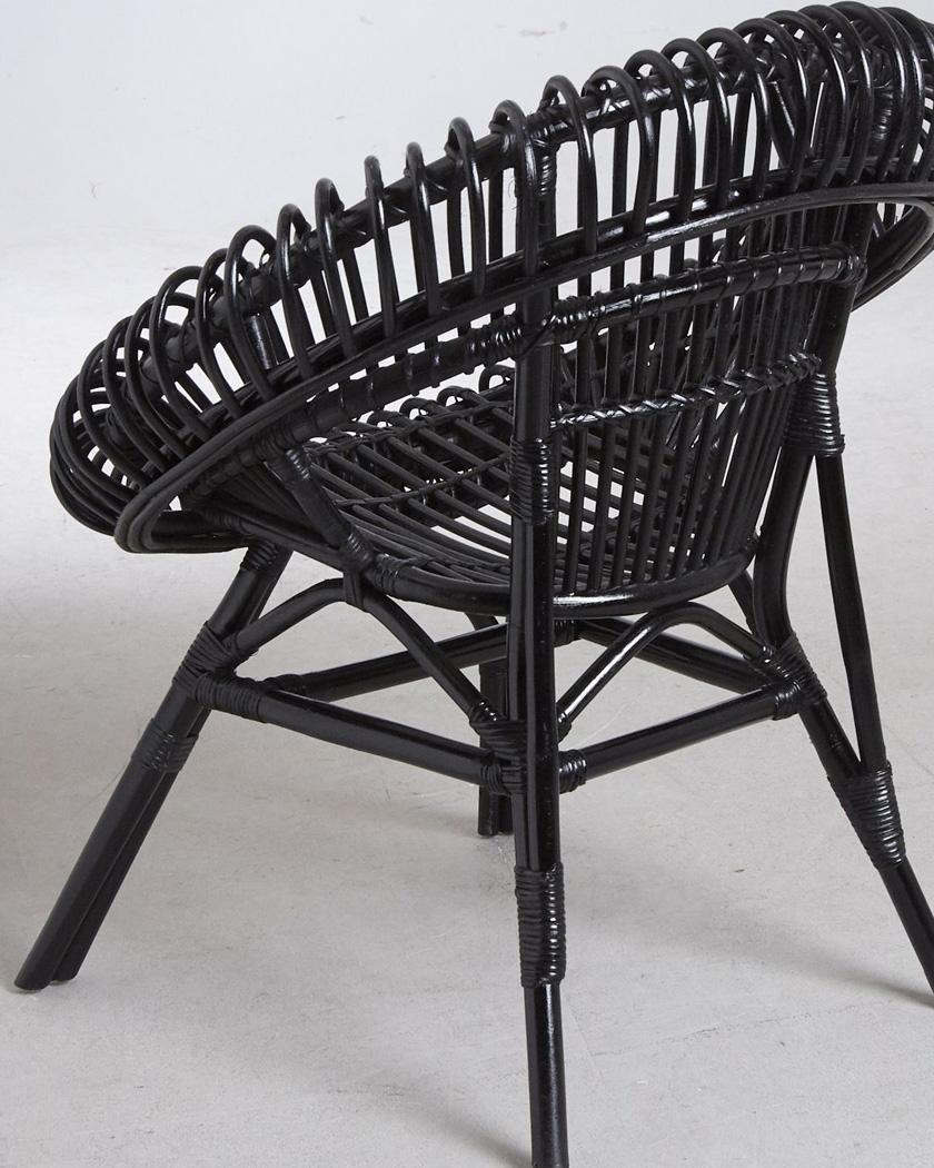 fauteuil rotin rond noir