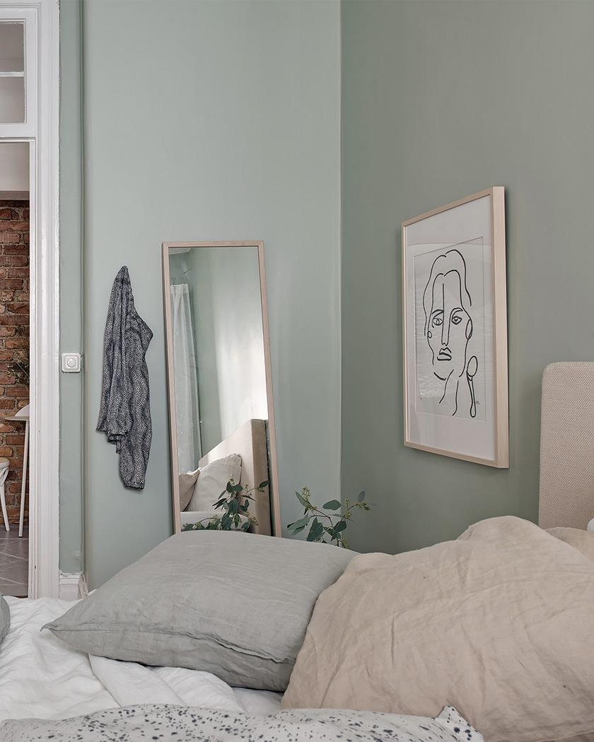 chambre scandinave murs vert pastel