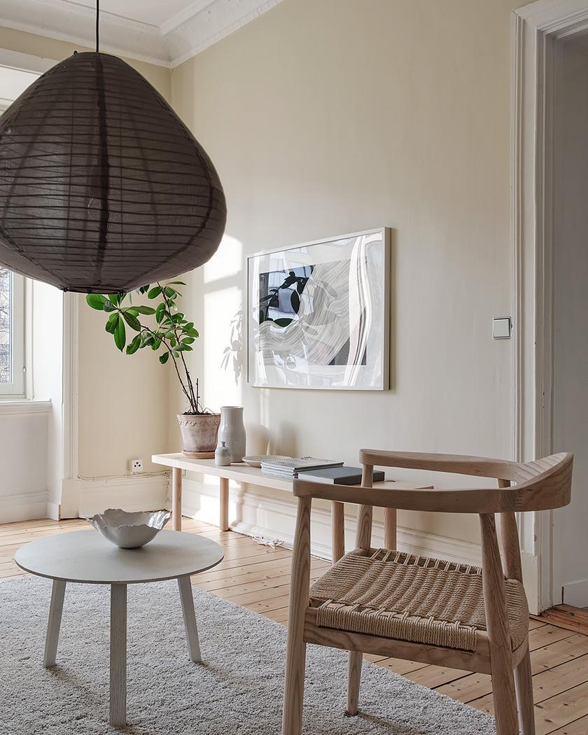 salon scandinave beige suspension papier japonais