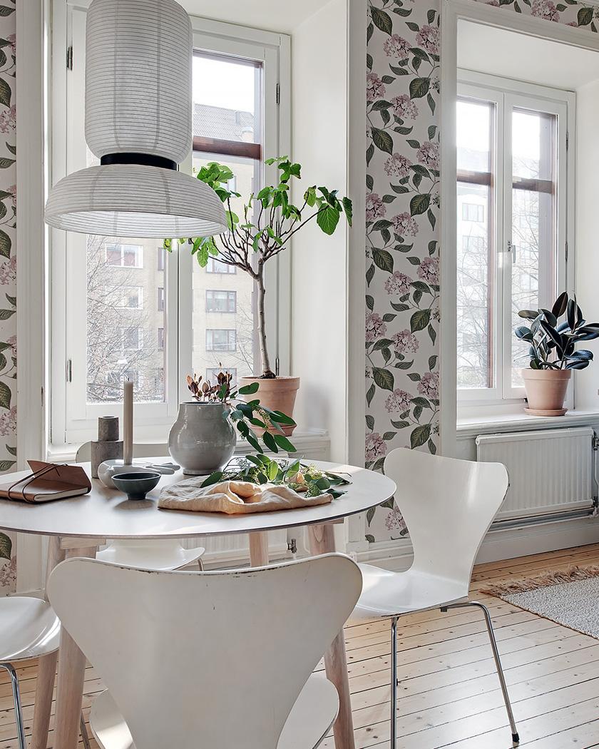 cuisine scandinave papier mots floral