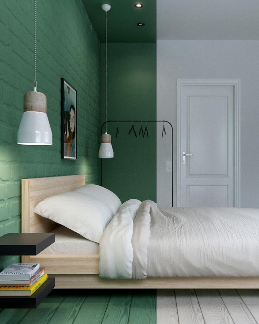 peindre plafond couleur vert chambre