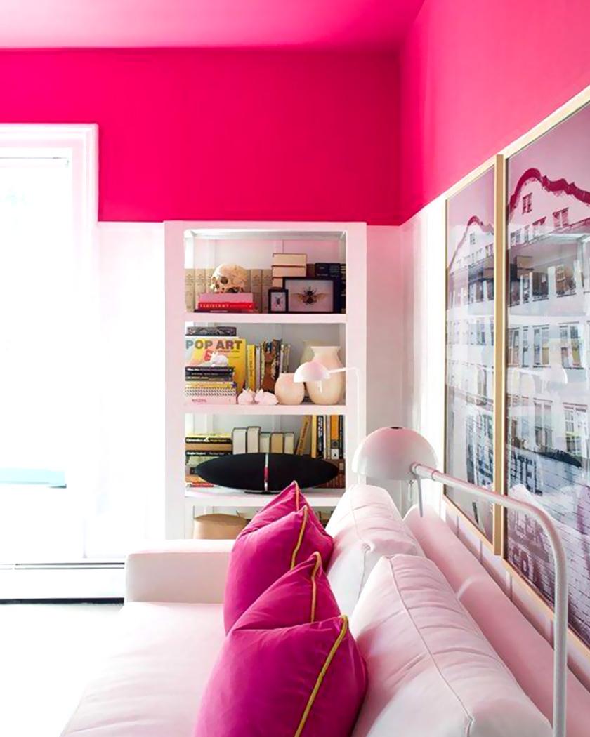 peindre plafond couleur rose bureau