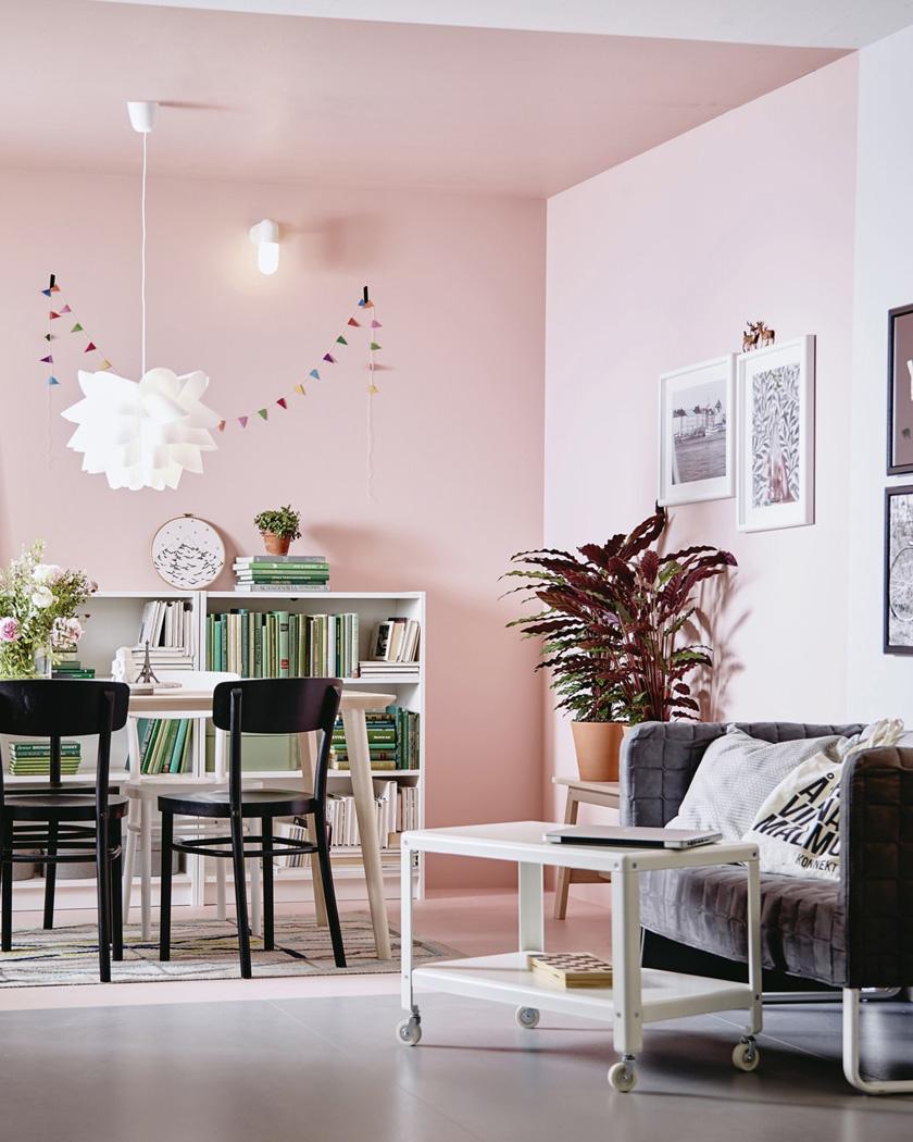 peindre plafond couleur rose sejour