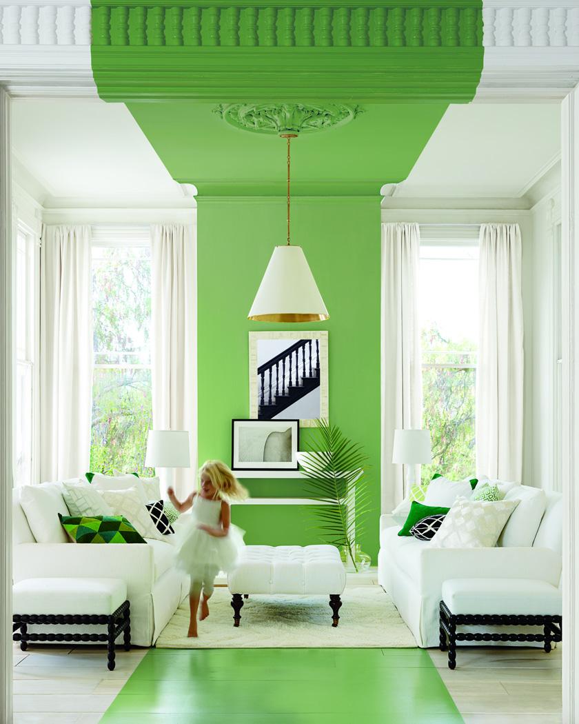 peindre plafond couleur vert salon