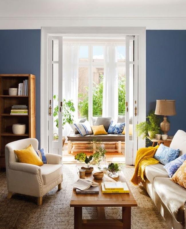 deco bleu fonce beige salon
