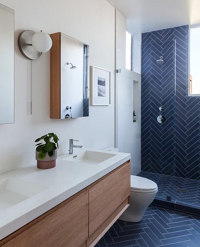 deco bleu fonce beige salle de bain