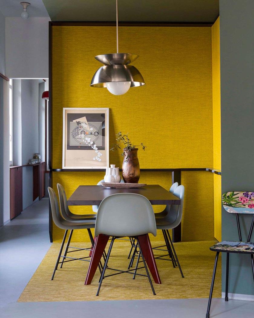 couleur jaune moutarde deco salle à manger murs kaki