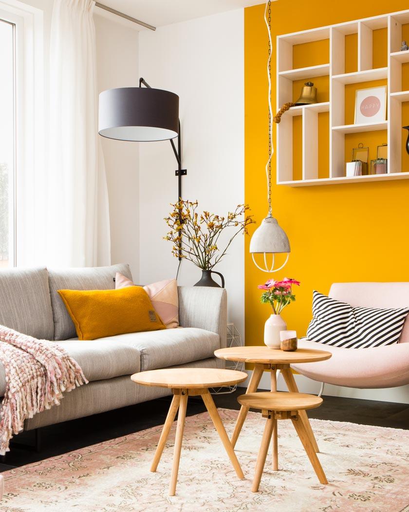couleur jaune moutarde deco salon rose