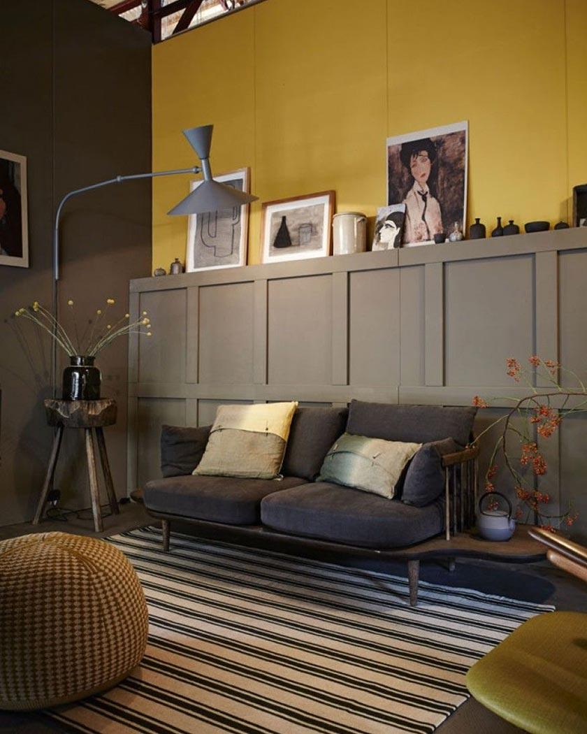 couleur jaune moutarde deco mur bois gris