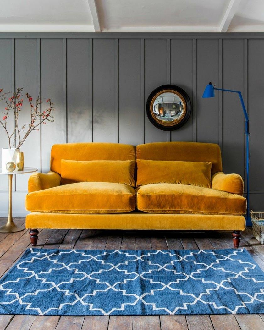 couleur jaune moutarde deco salon gris bleu