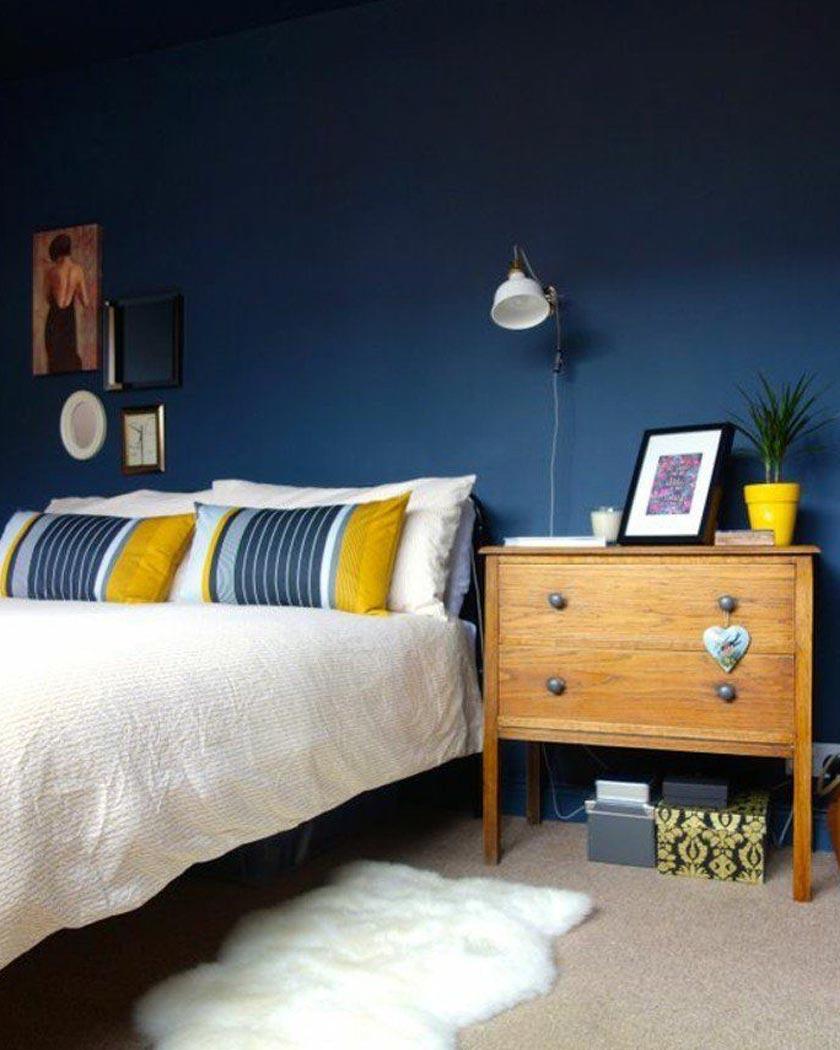couleur jaune moutarde deco bleu canard chambre