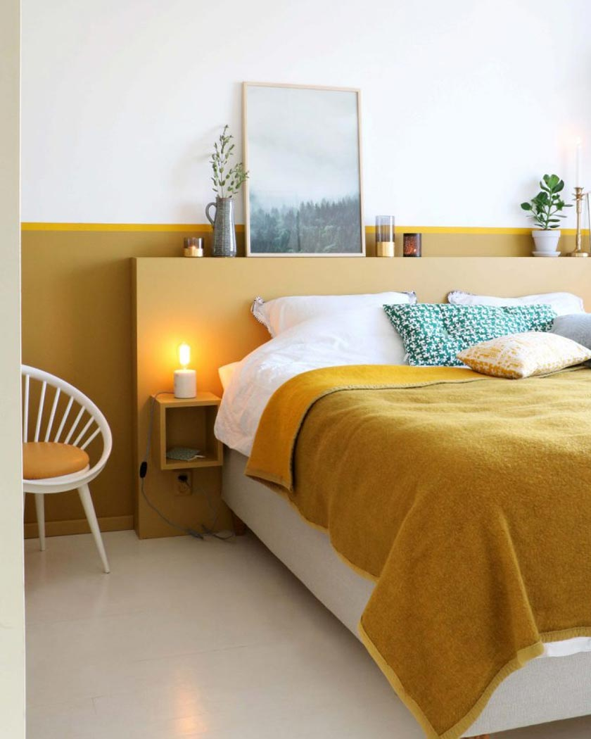 couleur jaune moutarde deco total look chambre