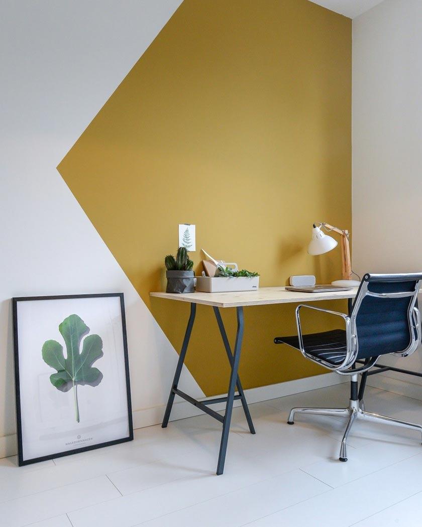 couleur jaune moutarde deco peinture mur bureau