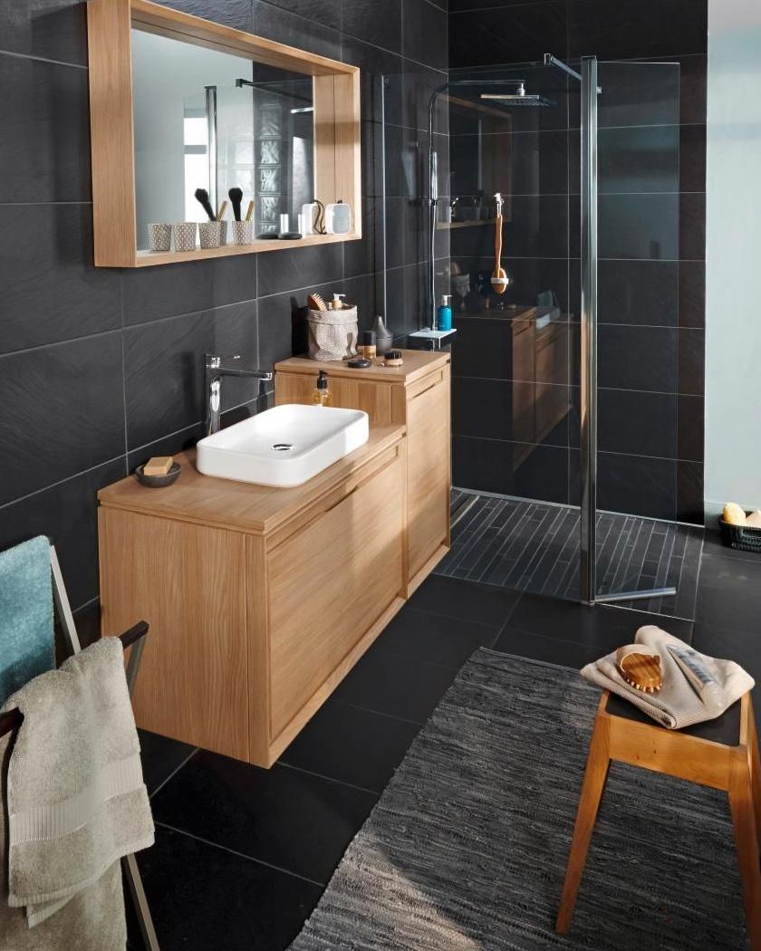deco salle de bain moderne gris et bois