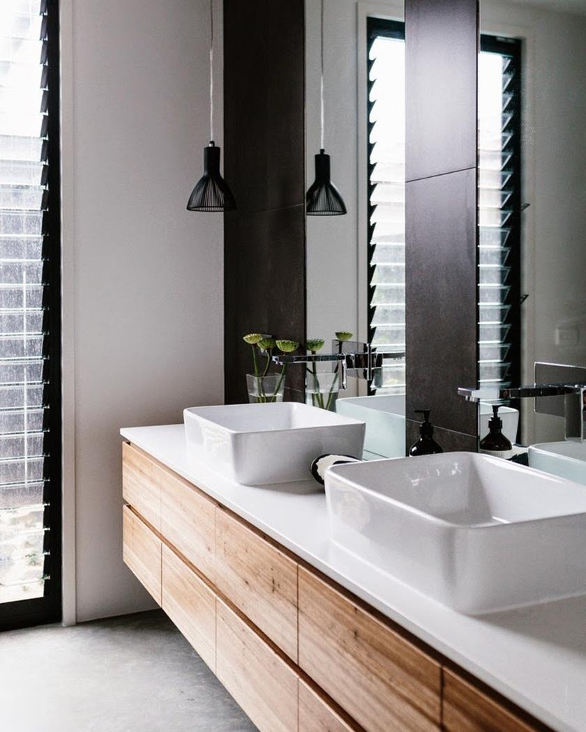 deco salle de bain moderne noir meuble vasque bois